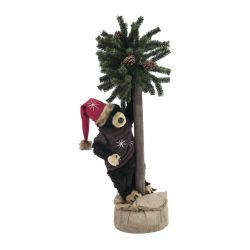 EUROPALMS Christmas bear, with fir, 105cm