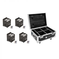 EUROLITE Set 4x AKKU UP-4 QCL Spot QucikDMX + Case with charging