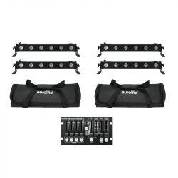 EUROLITE Set 4x LED BAR-6 QCL RGBW + 2x Soft Bag + Controller