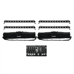 EUROLITE Set 4x LED BAR-12 QCL RGBW + 2x Soft Bags + Controller