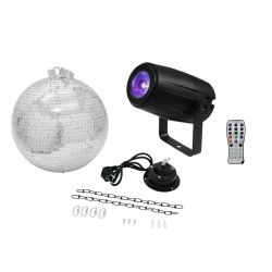 EUROLITE Mirror Ball 30cm with motor + LED PST-5 QCL Spot bk