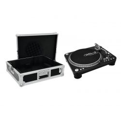 OMNITRONIC Set DD-5220L Turntable bk + Case tour Pro black -B-