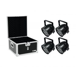 EUROLITE Set 4x LED PAR-56 HCL Short sw + EPS Case