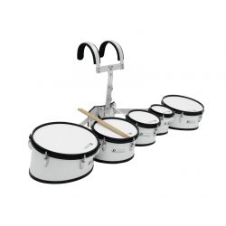 DIMAVERY MT-530 Marching Drum Set, white