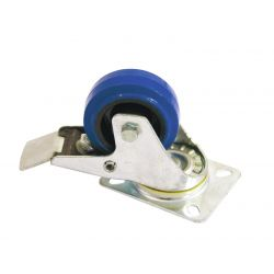 Swivel castor  80mm blue with brake