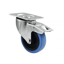 Swivel castor 100mm Blue Wheel with brake