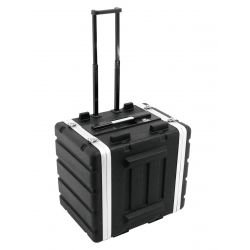 """Plastic rack 19"""", 8HE, DD/trolley, black"""