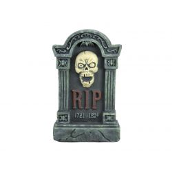 EUROPALMS Halloween tombstone with skull, 56cm
